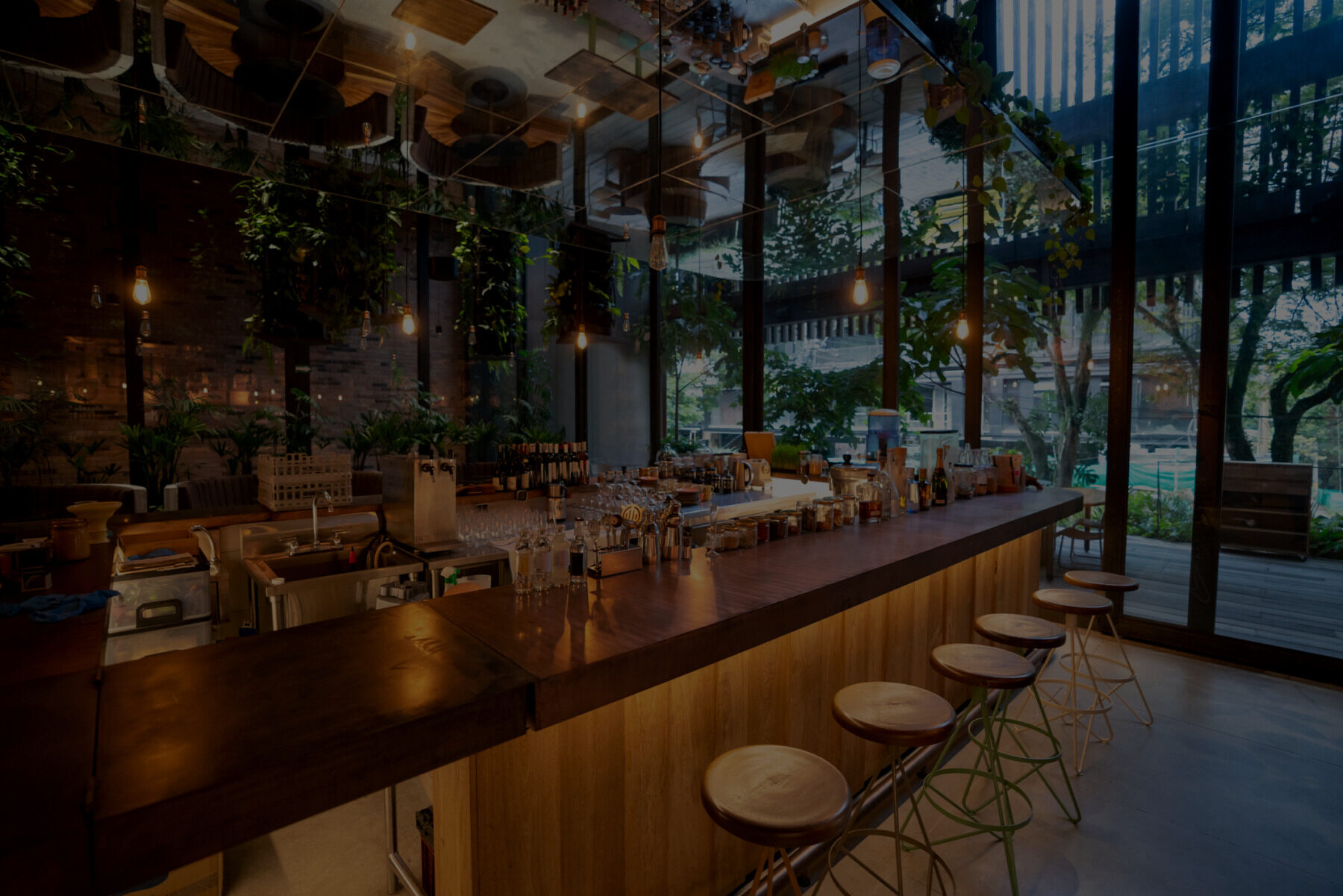 Interior of contemporary upscale bar with greenery throughout