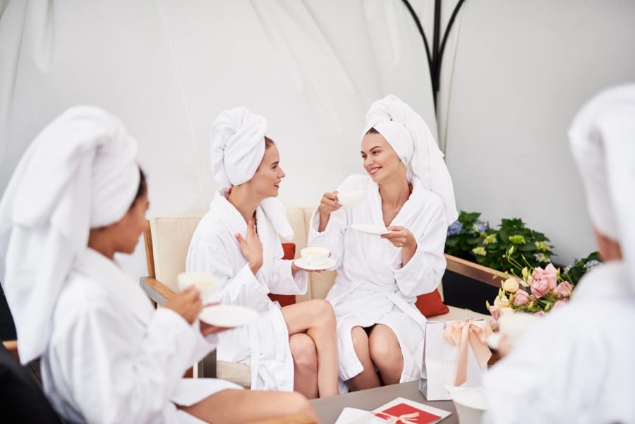 women enjoying a spa day